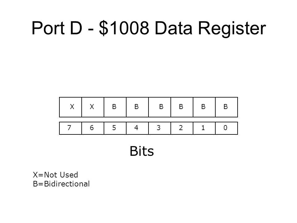 Port D - $1008 Data Register 76543210 Bits BBBBBBXX X=Not Used B=Bidirectional