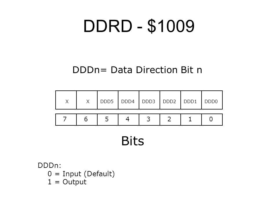 DDRD - $1009 76543210 Bits DDD0 DDDn: 0 = Input (Default) 1 = Output DDD1DDD2DDD3DDD4DDD5XX DDDn= Data Direction Bit n
