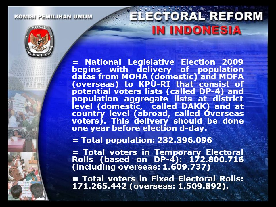 = National Legislative Election 2009 begins with delivery of population datas from MOHA (domestic) and MOFA (overseas) to KPU-RI that consist of poten