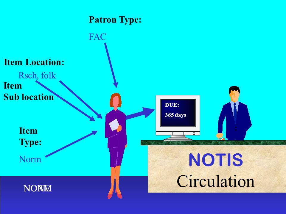 Rsch, folk Item Type: Norm NOTIS Circulation Patron Type: FAC Item Location: Item Sub location NONENORM DUE: 365 days