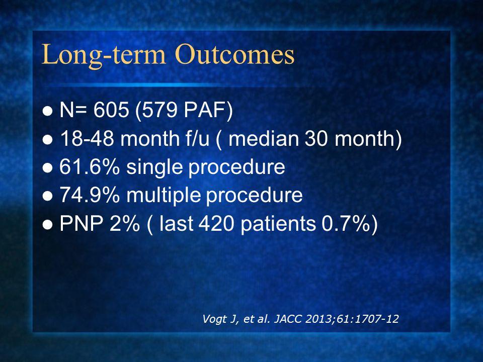 Long-term Outcomes N= 605 (579 PAF) 18-48 month f/u ( median 30 month) 61.6% single procedure 74.9% multiple procedure PNP 2% ( last 420 patients 0.7%) Vogt J, et al.