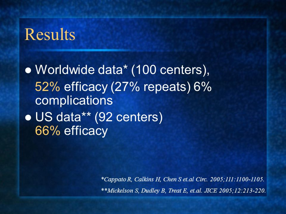 Results Worldwide data* (100 centers), 52% efficacy (27% repeats) 6% complications US data** (92 centers) 66% efficacy *Cappato R, Calkins H, Chen S et.al Circ.