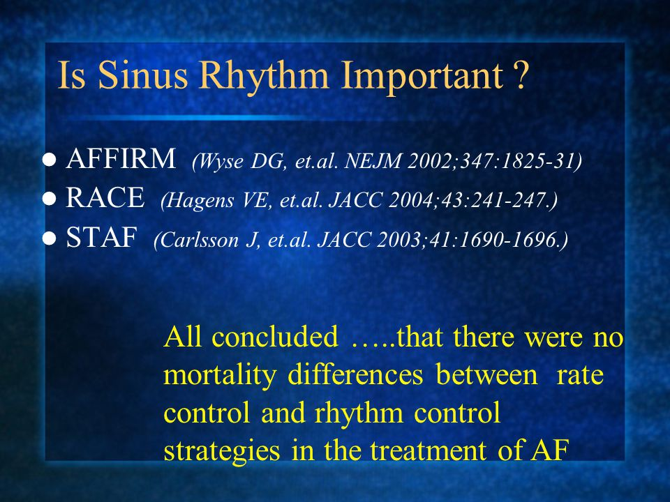 Is Sinus Rhythm Important .AFFIRM (Wyse DG, et.al.