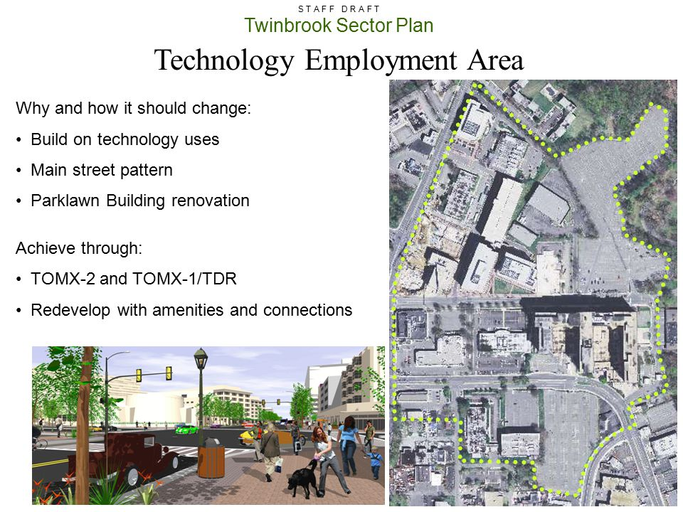 Twinbrook Sector Plan S T A F F D R A F T Technology Employment Area Why and how it should change: Build on technology uses Main street pattern Parkla