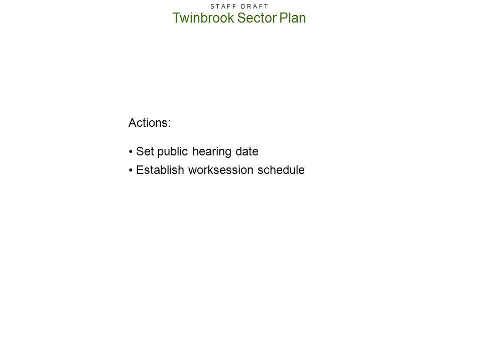 Twinbrook Sector Plan S T A F F D R A F T Actions: Set public hearing date Establish worksession schedule