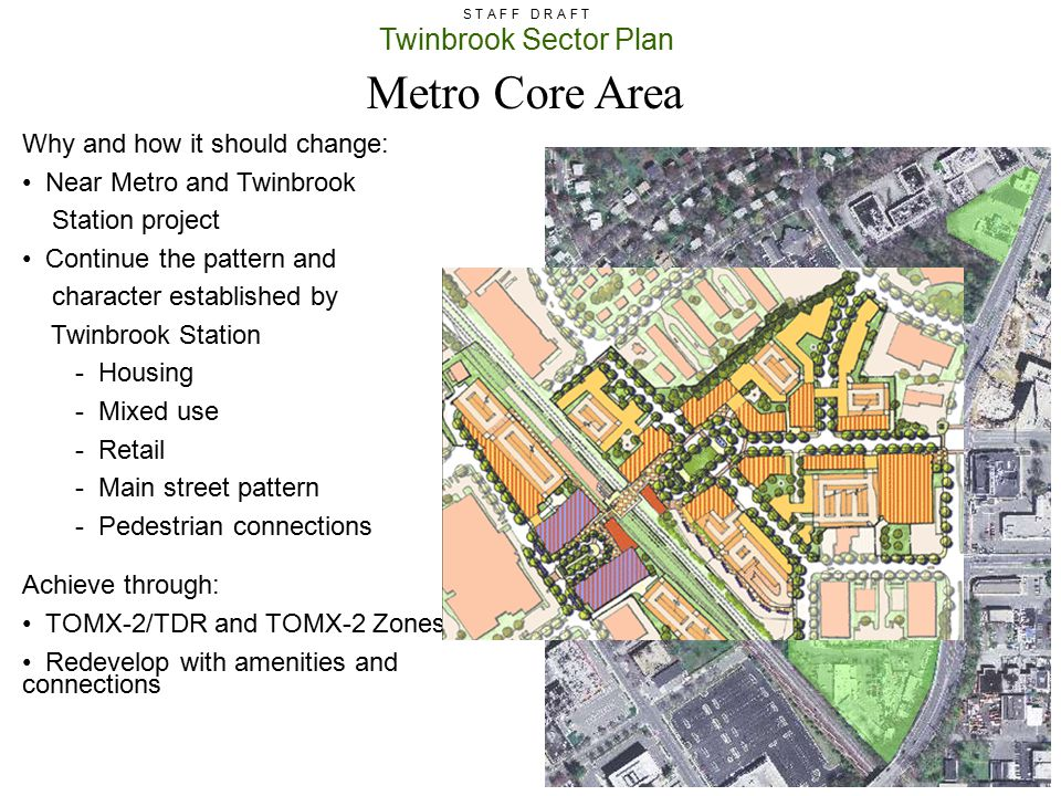 Twinbrook Sector Plan S T A F F D R A F T Why and how it should change: Near Metro and Twinbrook Station project Continue the pattern and character es