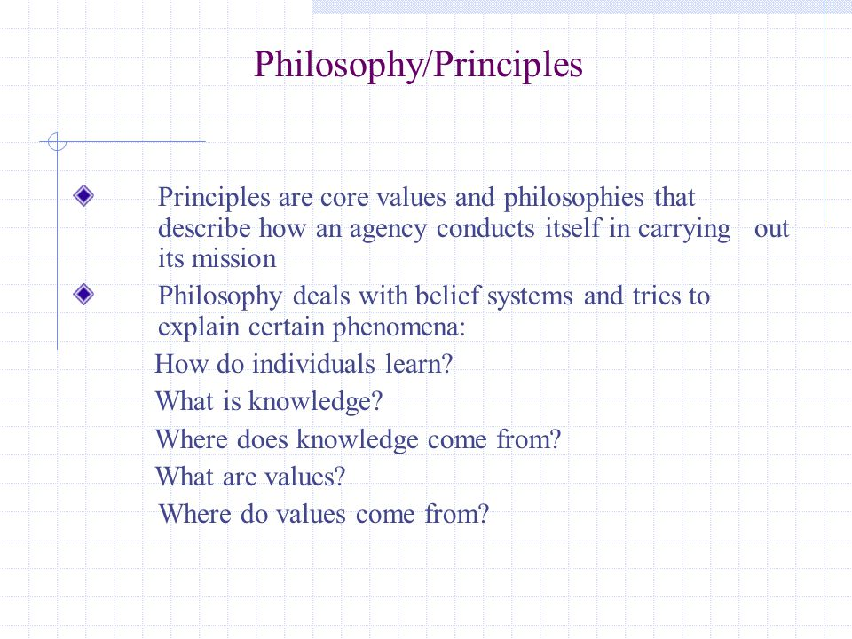 Philosophy/Principles Principles are core values and philosophies that describe how an agency conducts itself in carrying out its mission Philosophy deals with belief systems and tries to explain certain phenomena: How do individuals learn.