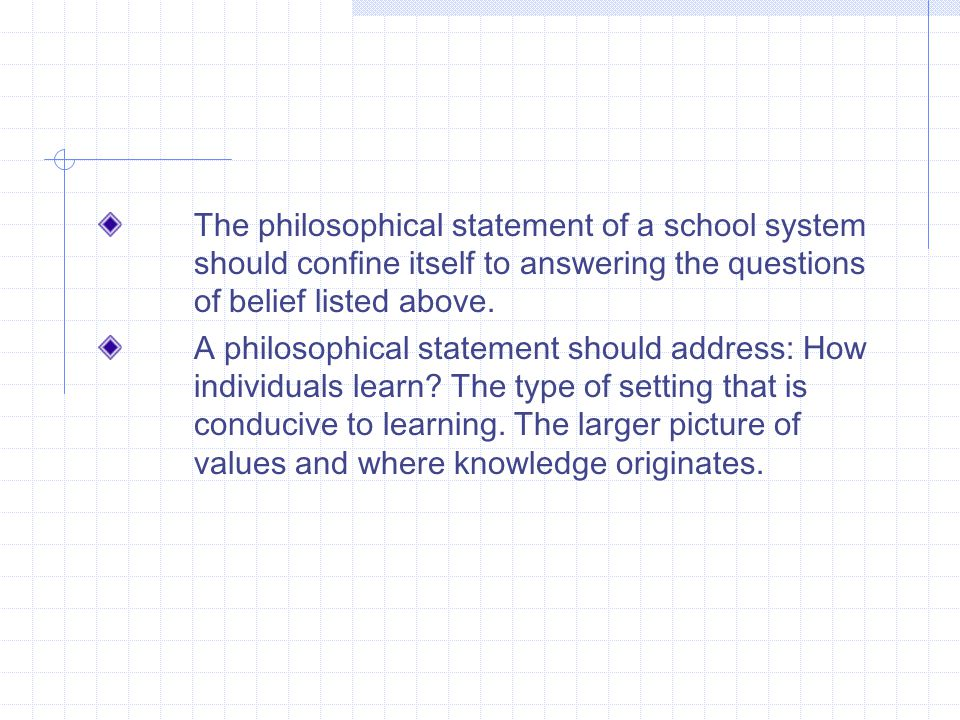 The philosophical statement of a school system should confine itself to answering the questions of belief listed above.