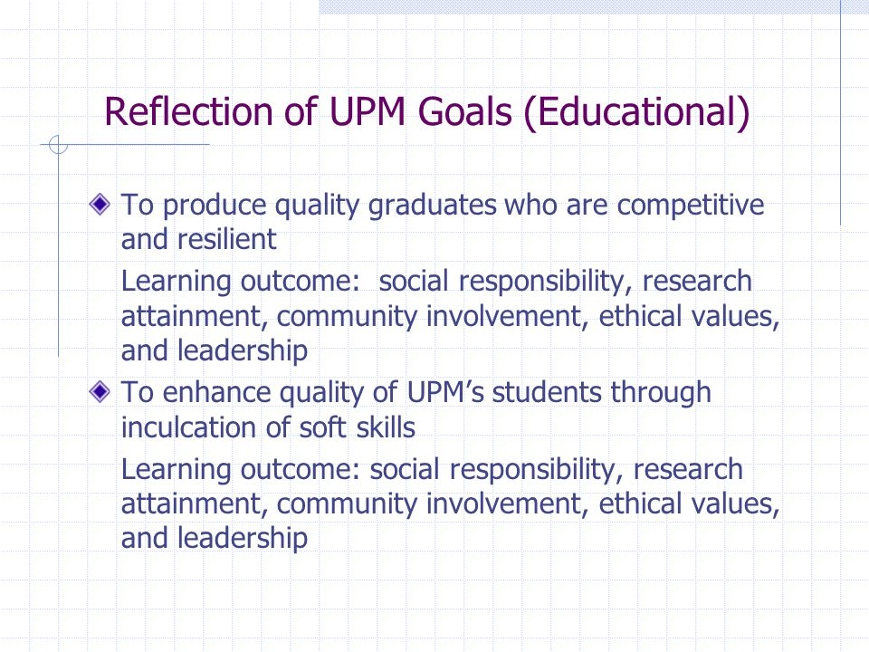 Reflection of UPM Goals (Educational) To produce quality graduates who are competitive and resilient Learning outcome: social responsibility, research attainment, community involvement, ethical values, and leadership To enhance quality of UPM's students through inculcation of soft skills Learning outcome: social responsibility, research attainment, community involvement, ethical values, and leadership