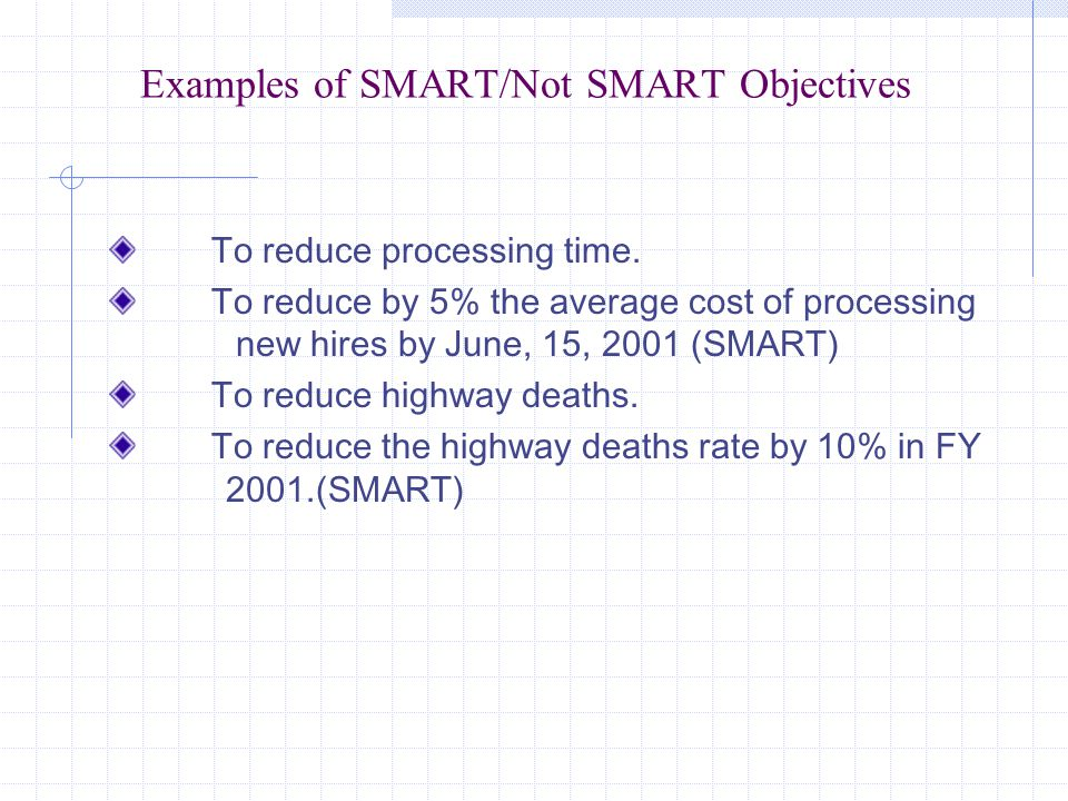 Examples of SMART/Not SMART Objectives To reduce processing time.