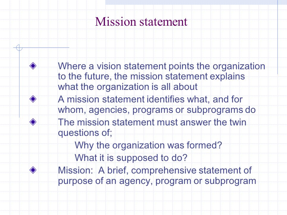 Mission statement Where a vision statement points the organization to the future, the mission statement explains what the organization is all about A mission statement identifies what, and for whom, agencies, programs or subprograms do The mission statement must answer the twin questions of; Why the organization was formed.