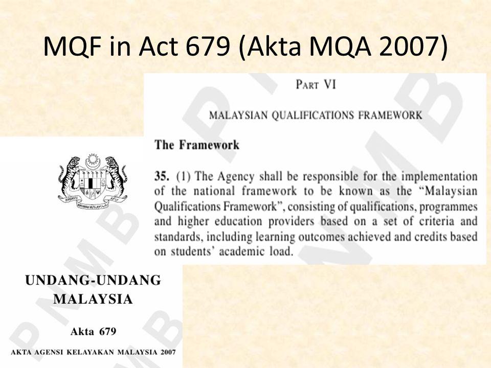 MQF in Act 679 (Akta MQA 2007)