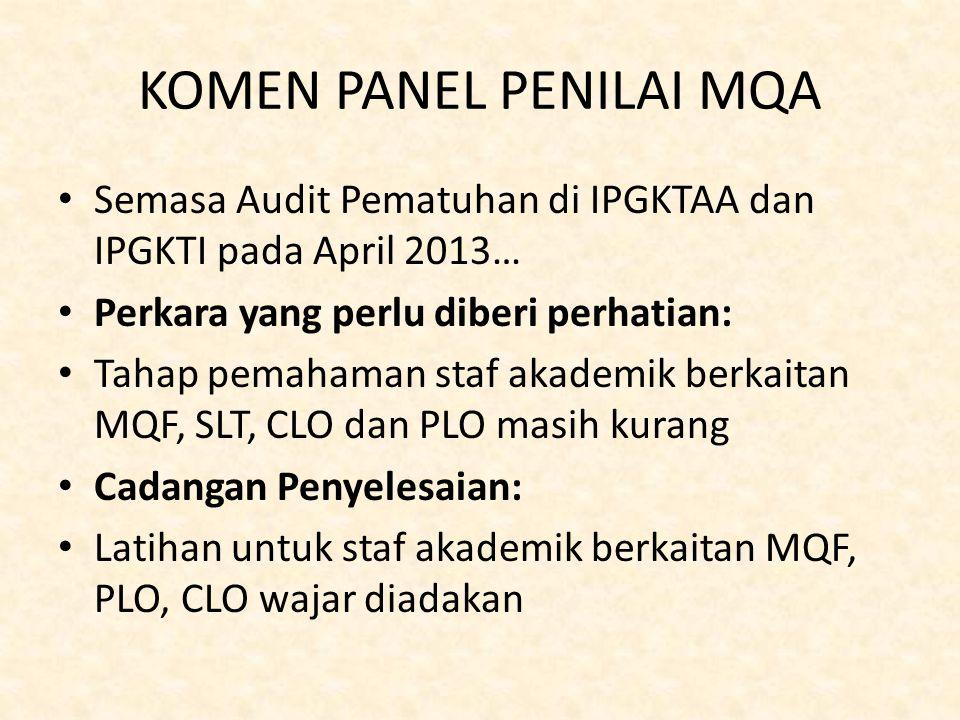 KOMEN PANEL PENILAI MQA Semasa Audit Pematuhan di IPGKTAA dan IPGKTI pada April 2013… Perkara yang perlu diberi perhatian: Tahap pemahaman staf akadem