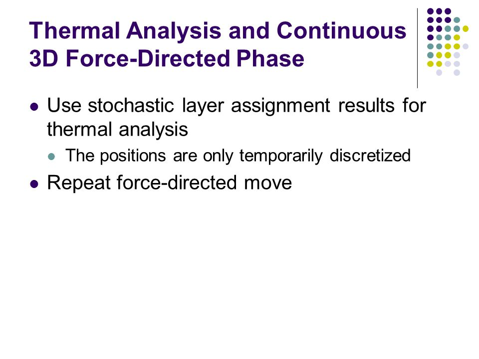 Thermal Analysis and Continuous 3D Force-Directed Phase Use stochastic layer assignment results for thermal analysis The positions are only temporaril