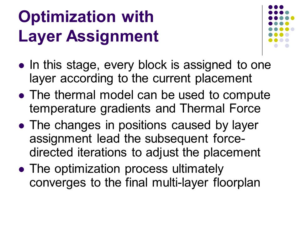 Optimization with Layer Assignment In this stage, every block is assigned to one layer according to the current placement The thermal model can be use