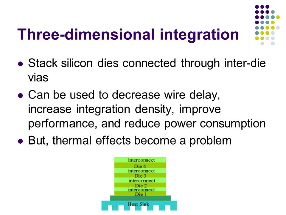 Three-dimensional integration Stack silicon dies connected through inter-die vias Can be used to decrease wire delay, increase integration density, im