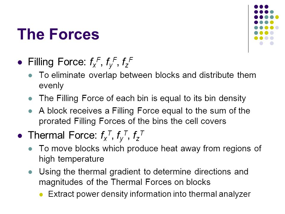 The Forces Filling Force: f x F, f y F, f z F To eliminate overlap between blocks and distribute them evenly The Filling Force of each bin is equal to
