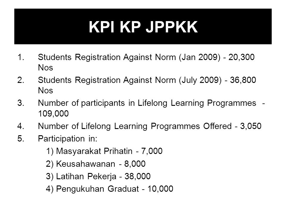 1.Students Registration Against Norm (Jan 2009) - 20,300 Nos 2.Students Registration Against Norm (July 2009) - 36,800 Nos 3.Number of participants in