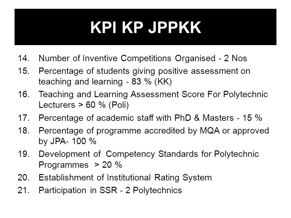 KPI KP JPPKK 14.Number of Inventive Competitions Organised - 2 Nos 15.Percentage of students giving positive assessment on teaching and learning - 83 % (KK) 16.Teaching and Learning Assessment Score For Polytechnic Lecturers > 60 % (Poli) 17.Percentage of academic staff with PhD & Masters - 15 % 18.Percentage of programme accredited by MQA or approved by JPA- 100 % 19.Development of Competency Standards for Polytechnic Programmes > 20 % 20.Establishment of Institutional Rating System 21.Participation in SSR - 2 Polytechnics