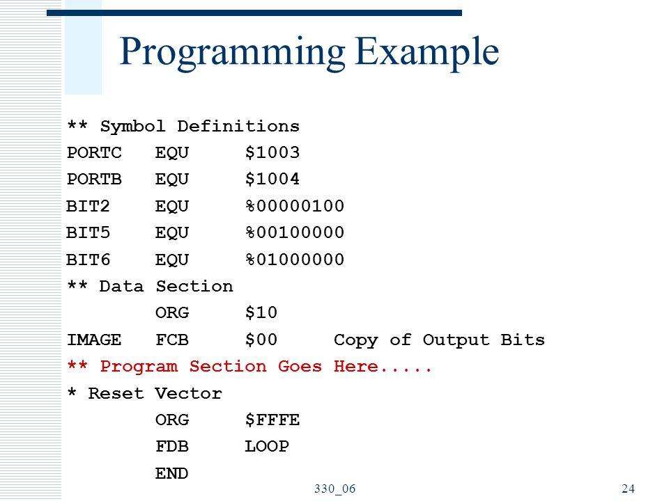 330_0624 Programming Example ** Symbol Definitions PORTC EQU $1003 PORTB EQU $1004 BIT2 EQU %00000100 BIT5 EQU %00100000 BIT6 EQU %01000000 ** Data Se