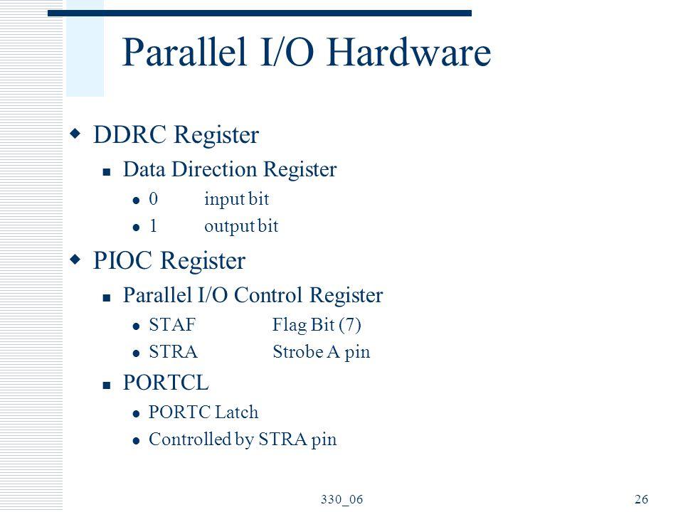 330_0626 Parallel I/O Hardware  DDRC Register Data Direction Register 0input bit 1output bit  PIOC Register Parallel I/O Control Register STAF Flag