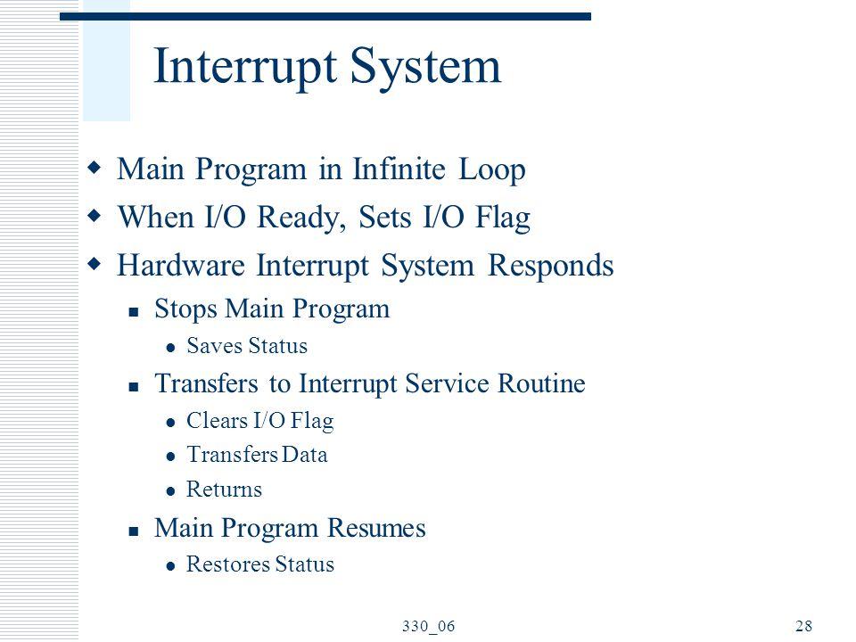 330_0628 Interrupt System  Main Program in Infinite Loop  When I/O Ready, Sets I/O Flag  Hardware Interrupt System Responds Stops Main Program Save