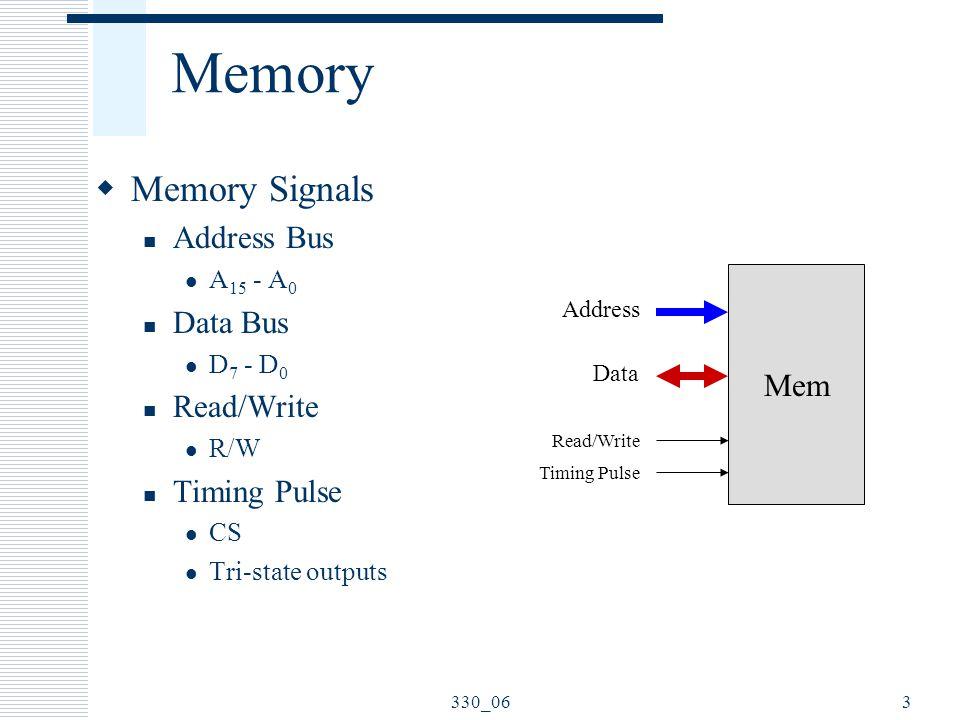 330_063 Memory  Memory Signals Address Bus A 15 - A 0 Data Bus D 7 - D 0 Read/Write R/W Timing Pulse CS Tri-state outputs Mem Address Data Read/Write