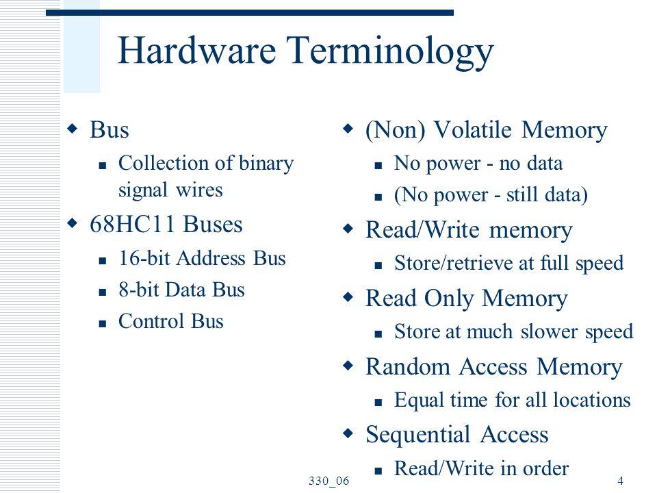 330_064 Hardware Terminology  Bus Collection of binary signal wires  68HC11 Buses 16-bit Address Bus 8-bit Data Bus Control Bus  (Non) Volatile Mem