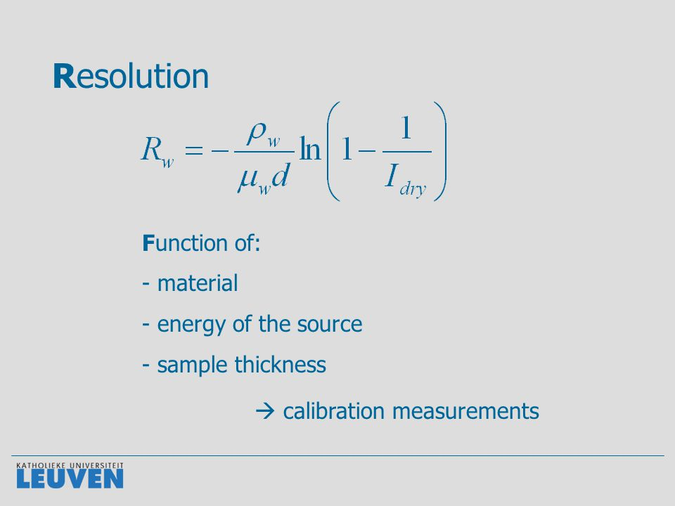 Resolution Function of: - material - energy of the source - sample thickness  calibration measurements
