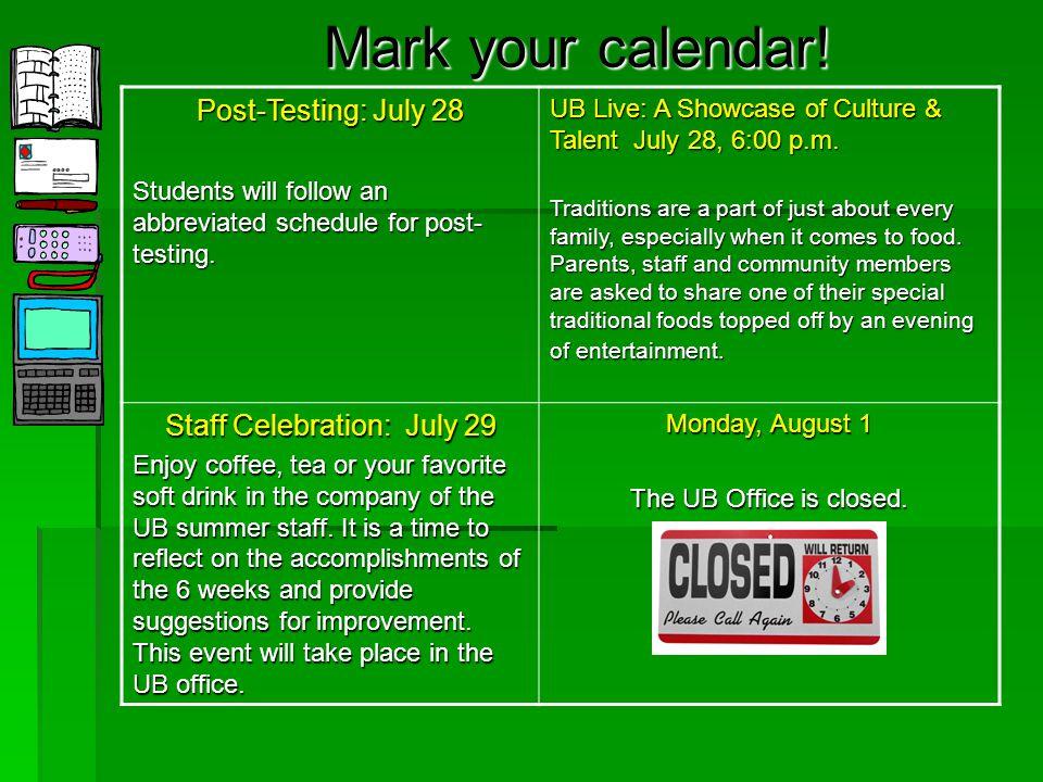 Mark your calendar. All Staff Orientation/Training June 12 (9:00 a.m.