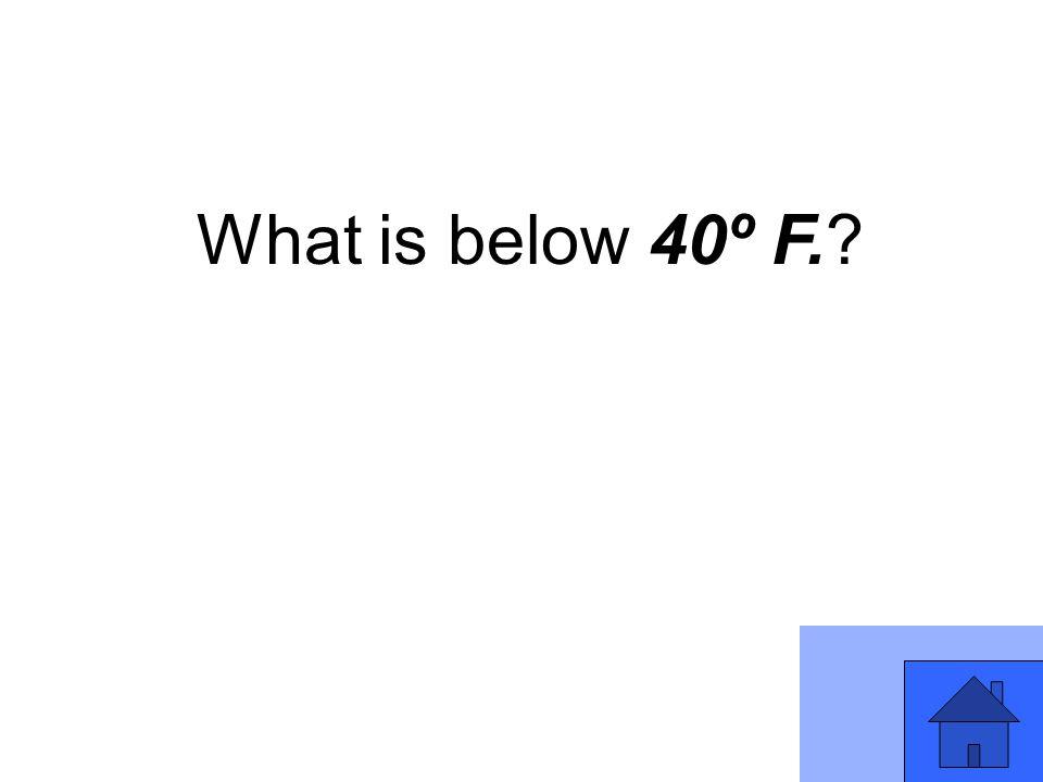 What is below 40º F.?