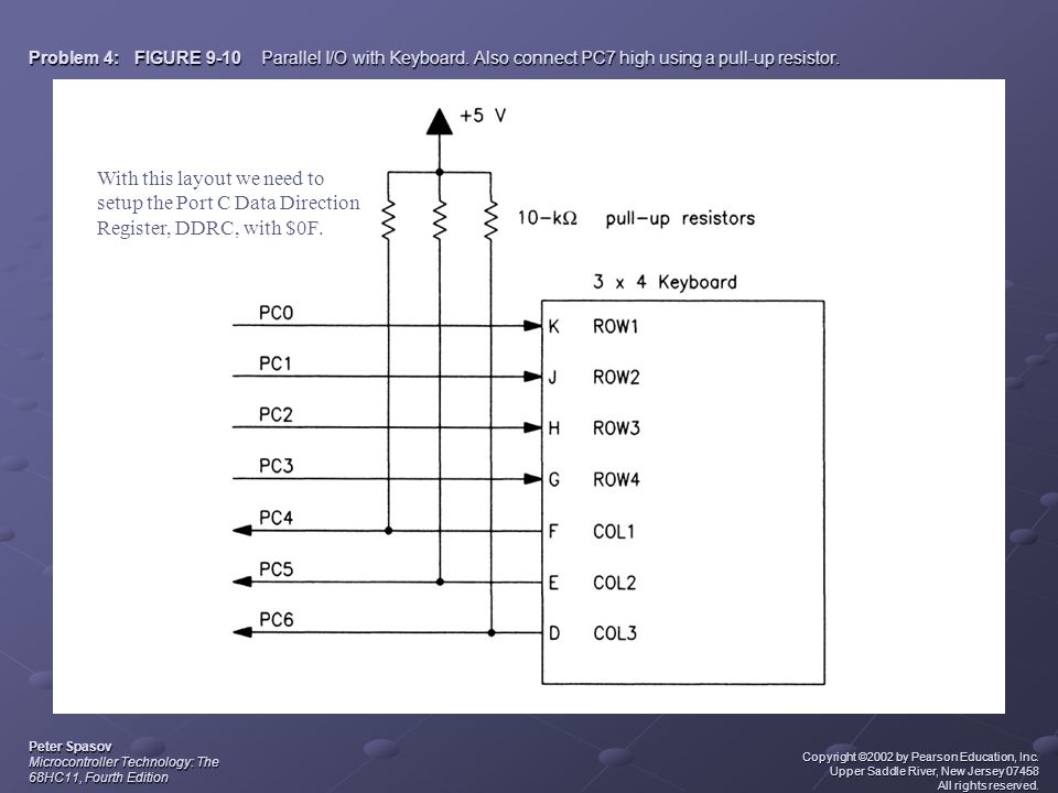 Problem 4: FIGURE 9-10 Parallel I/O with Keyboard. Also connect PC7 high using a pull-up resistor. Peter Spasov Microcontroller Technology: The 68HC11