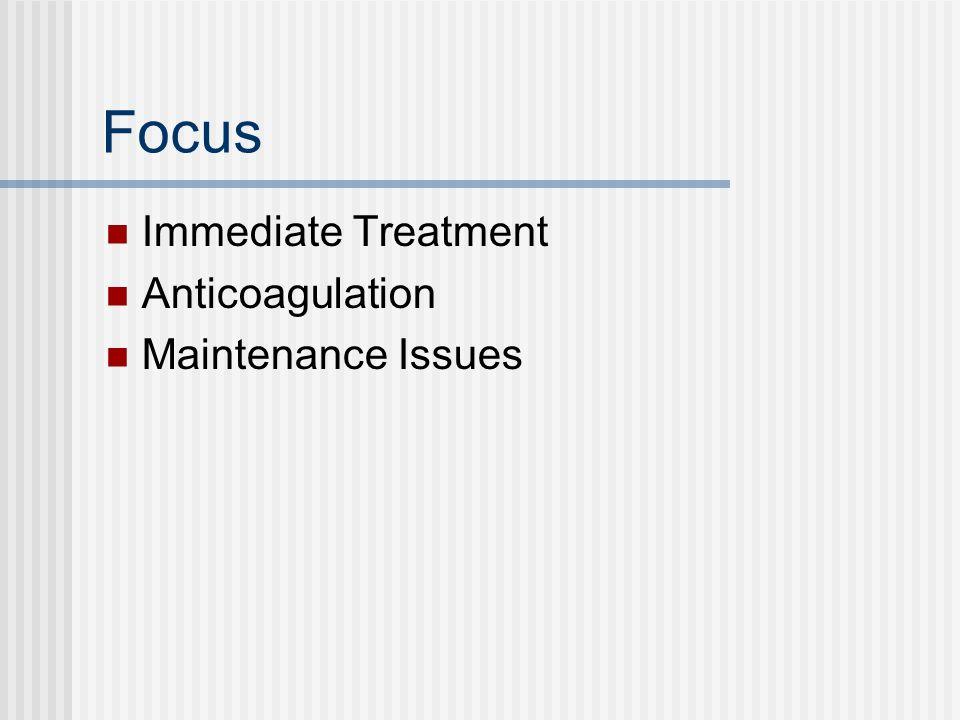 Focus Immediate Treatment Anticoagulation Maintenance Issues