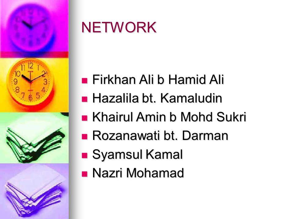 NETWORK Firkhan Ali b Hamid Ali Firkhan Ali b Hamid Ali Hazalila bt.