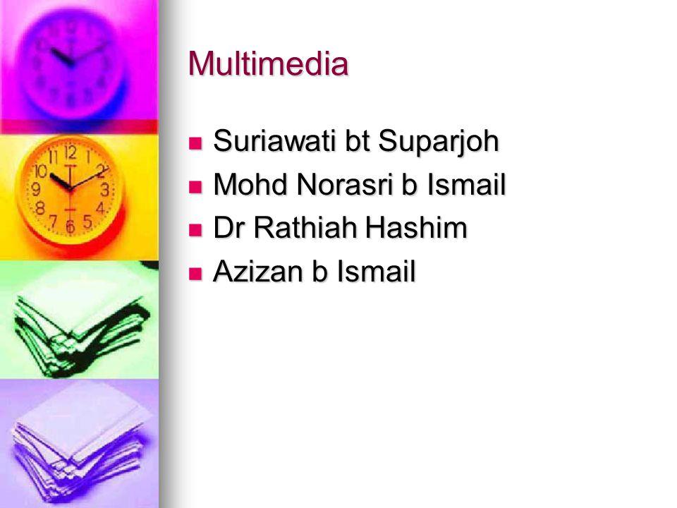 Multimedia Suriawati bt Suparjoh Suriawati bt Suparjoh Mohd Norasri b Ismail Mohd Norasri b Ismail Dr Rathiah Hashim Dr Rathiah Hashim Azizan b Ismail Azizan b Ismail
