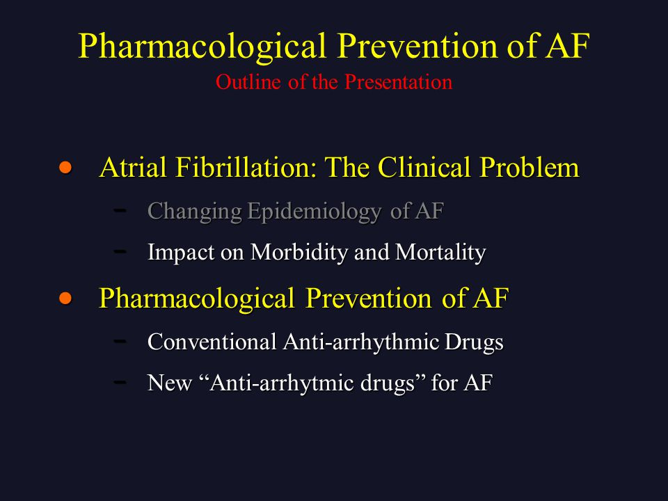 Outline of the Presentation  Atrial Fibrillation: The Clinical Problem − Changing Epidemiology of AF − Impact on Morbidity and Mortality  Pharmacolo