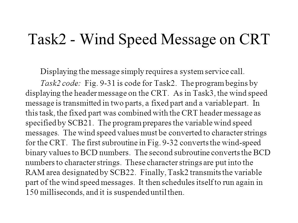 Task2 - Wind Speed Message on CRT Displaying the message simply requires a system service call.