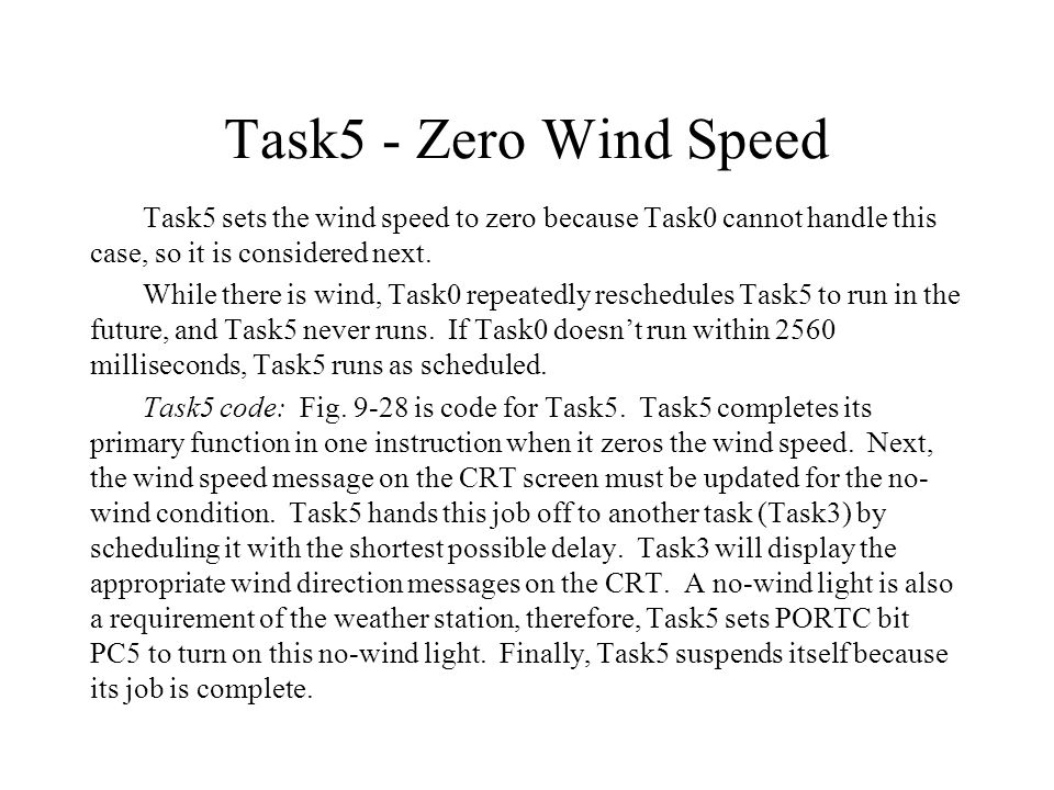 Task5 - Zero Wind Speed Task5 sets the wind speed to zero because Task0 cannot handle this case, so it is considered next.