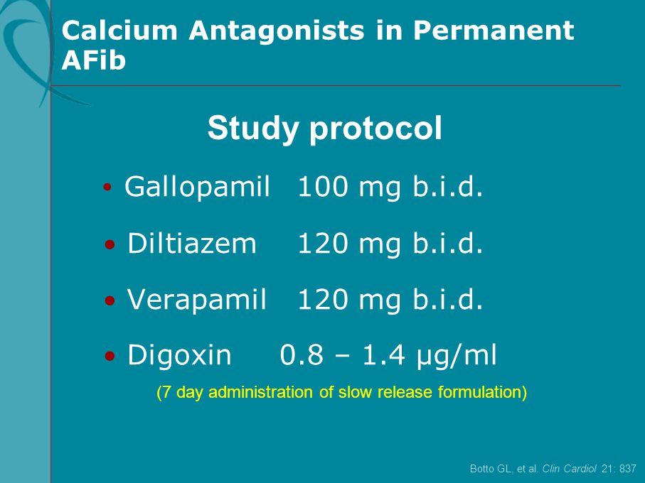 Gallopamil 100 mg b.i.d. Diltiazem 120 mg b.i.d. Verapamil 120 mg b.i.d. Digoxin 0.8 – 1.4 µg/ml Botto GL, et al. Clin Cardiol 21: 837 Study protocol
