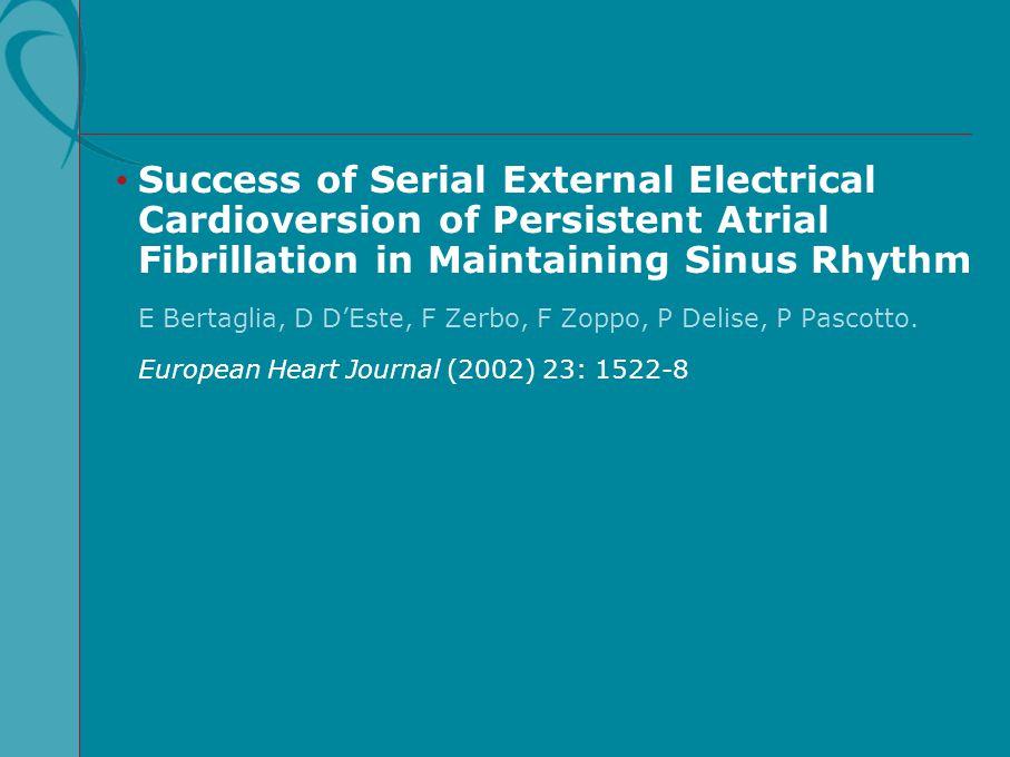 Success of Serial External Electrical Cardioversion of Persistent Atrial Fibrillation in Maintaining Sinus Rhythm E Bertaglia, D D'Este, F Zerbo, F Zo