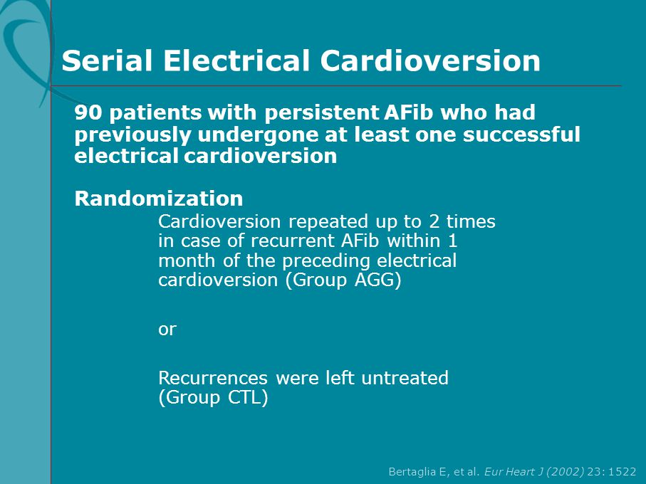 Serial Electrical Cardioversion 90 patients with persistent AFib who had previously undergone at least one successful electrical cardioversion Randomi