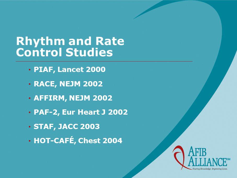Rhythm and Rate Control Studies PIAF, Lancet 2000 RACE, NEJM 2002 AFFIRM, NEJM 2002 PAF-2, Eur Heart J 2002 STAF, JACC 2003 HOT-CAFÉ, Chest 2004