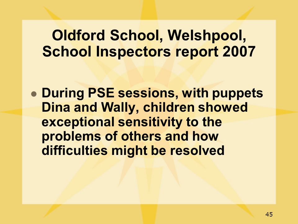 45 Oldford School, Welshpool, School Inspectors report 2007 During PSE sessions, with puppets Dina and Wally, children showed exceptional sensitivity to the problems of others and how difficulties might be resolved