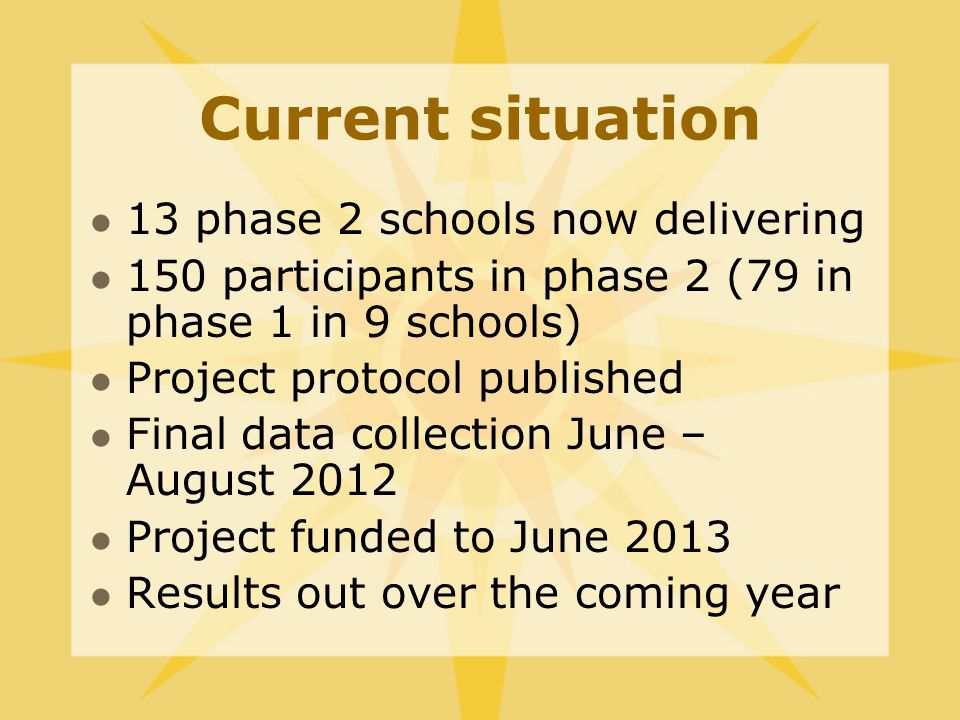 Current situation 13 phase 2 schools now delivering 150 participants in phase 2 (79 in phase 1 in 9 schools) Project protocol published Final data collection June – August 2012 Project funded to June 2013 Results out over the coming year