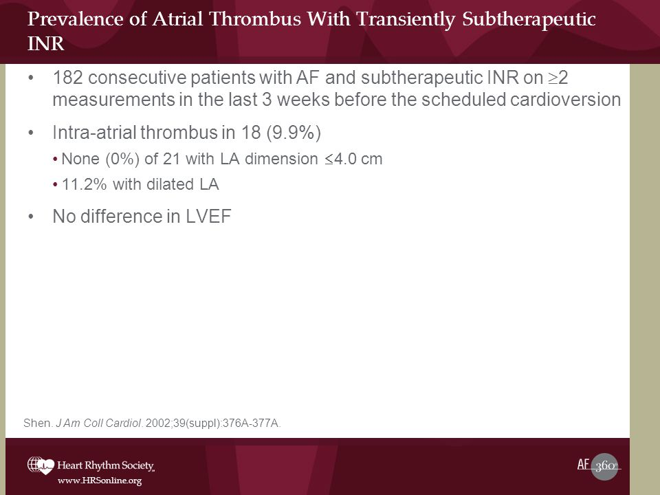 www.HRSonline.org Prevalence of Atrial Thrombus With Transiently Subtherapeutic INR 182 consecutive patients with AF and subtherapeutic INR on  2 measurements in the last 3 weeks before the scheduled cardioversion Intra-atrial thrombus in 18 (9.9%) None (0%) of 21 with LA dimension  4.0 cm 11.2% with dilated LA No difference in LVEF Shen.