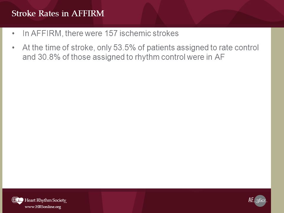 www.HRSonline.org Stroke Rates in AFFIRM In AFFIRM, there were 157 ischemic strokes At the time of stroke, only 53.5% of patients assigned to rate control and 30.8% of those assigned to rhythm control were in AF