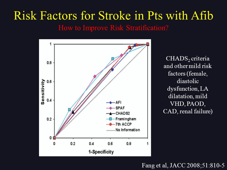 How to Improve Risk Stratification? Fang et al, JACC 2008;51:810-5 Risk Factors for Stroke in Pts with Afib CHADS 2 criteria and other mild risk facto