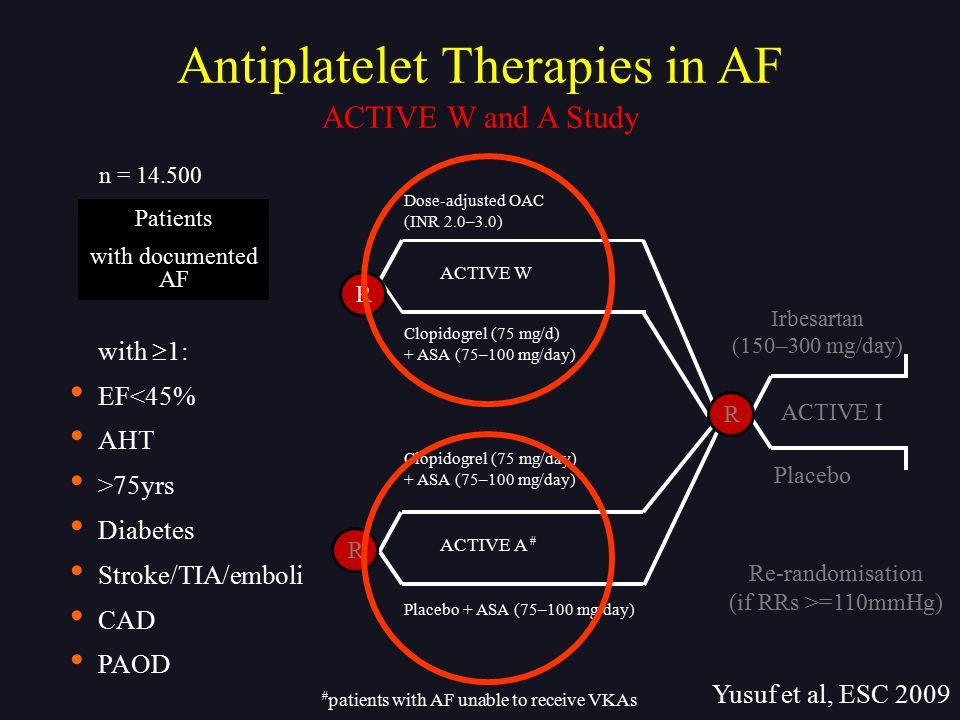 Dose-adjusted OAC (INR 2.0–3.0) Clopidogrel (75 mg/d) + ASA (75–100 mg/day) Clopidogrel (75 mg/day) + ASA (75–100 mg/day) Placebo + ASA (75–100 mg/day