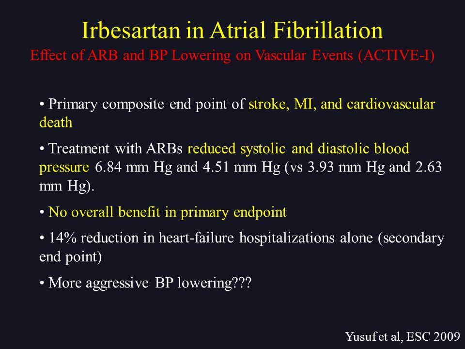 Irbesartan in Atrial Fibrillation Yusuf et al, ESC 2009 Primary composite end point of stroke, MI, and cardiovascular death Treatment with ARBs reduce
