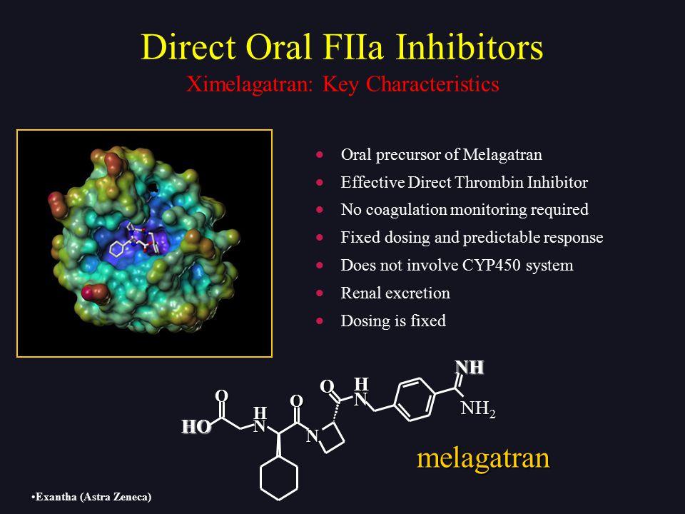 HO NH N N H O O N H O NH 2 melagatran  Oral precursor of Melagatran  Effective Direct Thrombin Inhibitor  No coagulation monitoring required  Fixe